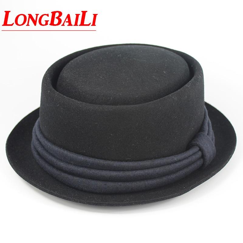 Hiver Noir Laine Fedora Chapeaux Pour Hommes Chapeu Porkpie Panama Feutre Flat Top Caps Livraison Gratuite SDDW019