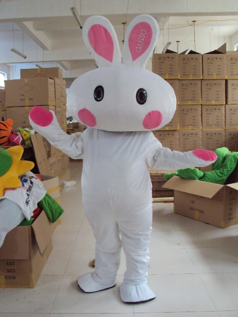 White Rabbit Mascot Costume Unisex Adult Size Fancy Dress Cartoon Appearl Halloween Birthday Cosplay