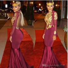 New Burgundy Long Sleeve Prom Dresses Satin Lace Applique High Neck Backless Evening Court Train Backless Party Gown burgundy lace details crew neck long sleeves high waisted dresses