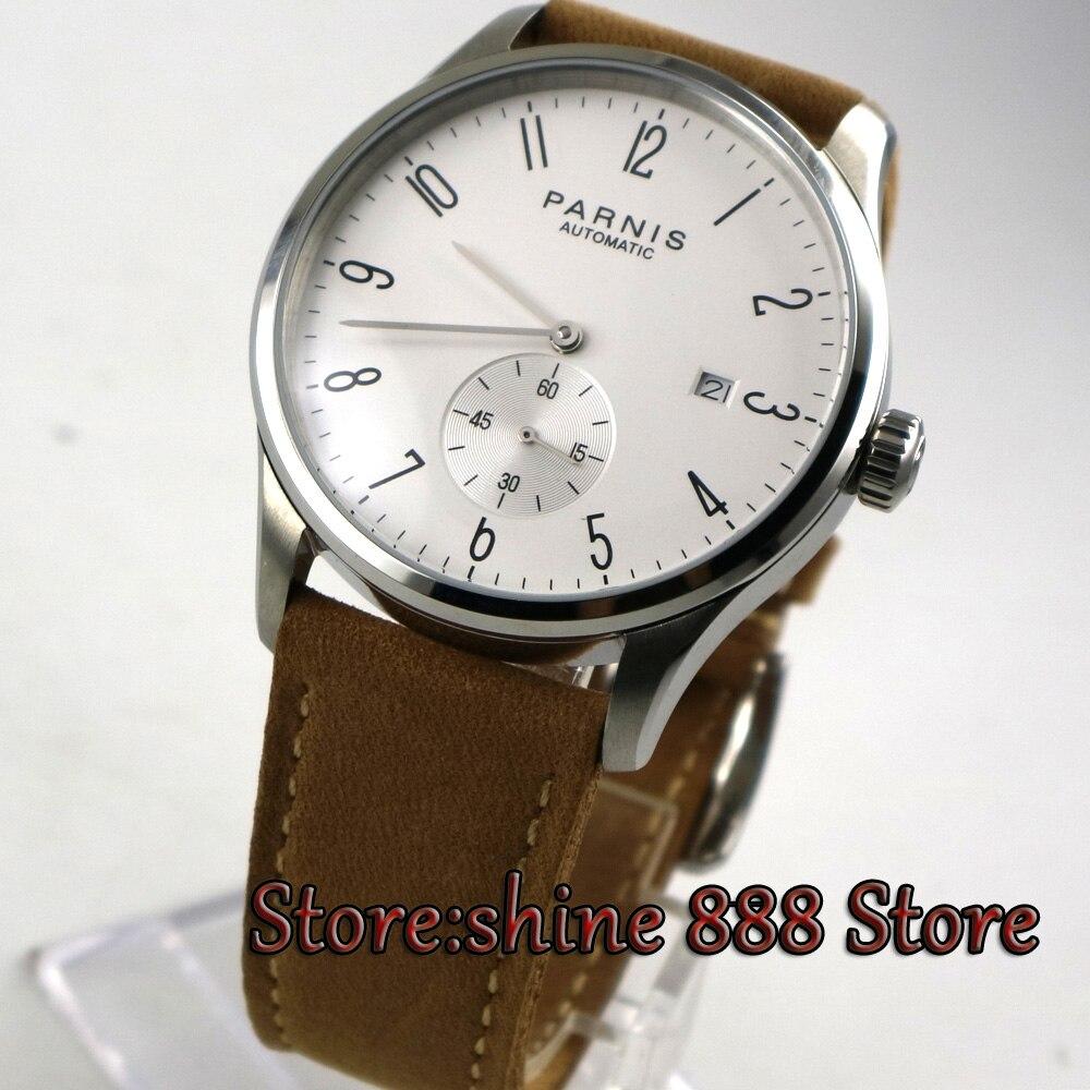 42mm Parnis biała tarcza data 24 godzin słuchawki ST 1731 automatyczny ruch mężczyzna zegarka w Zegarki mechaniczne od Zegarki na  Grupa 2