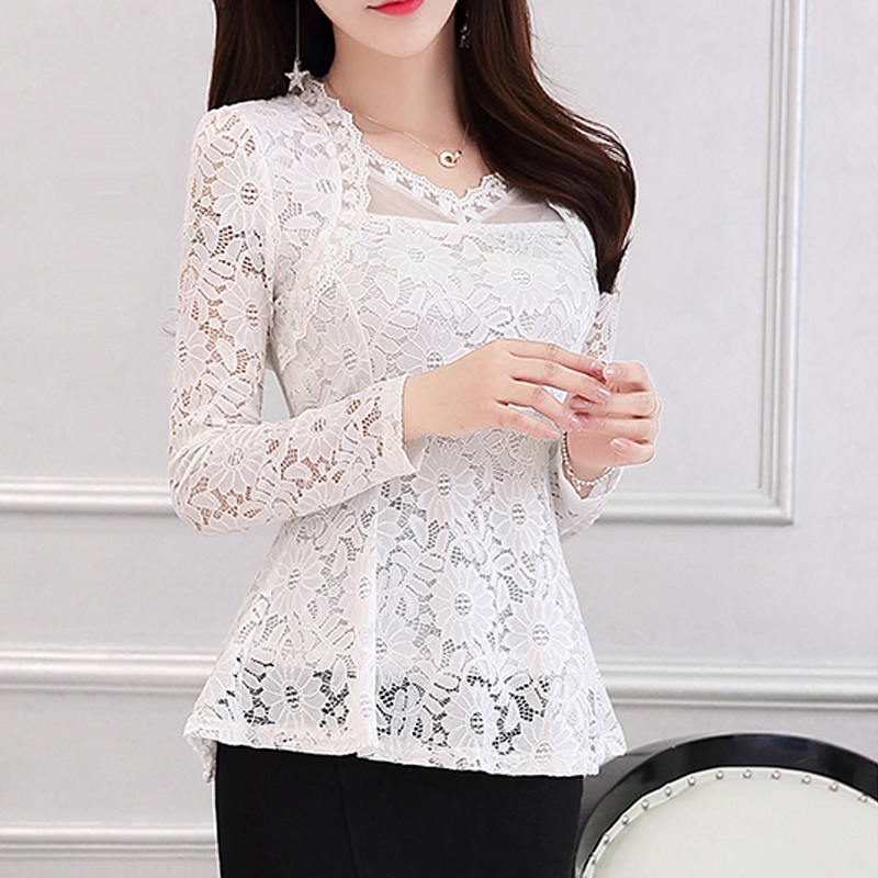 2016 Plus size Women clothing Spring lace Shirt Tops Cutout basic female Elegant long-sleeve Lace Blouses shirts M-4XL 810i 1