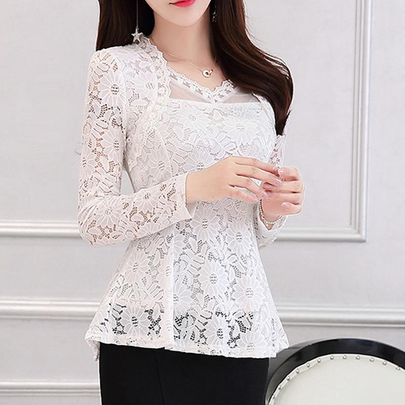 2016 Plus size Women clothing Spring lace Shirt Tops Cutout basic female Elegant long-sleeve Lace Blouses shirts M-4XL 810i 1