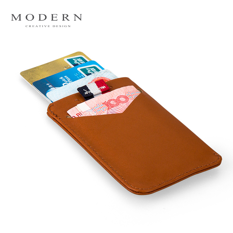 Modern - Luxury Brand New 100% Cow Genuine Leather Men Wallets Women Smart Card Holder Organizer stack up pull out wallet