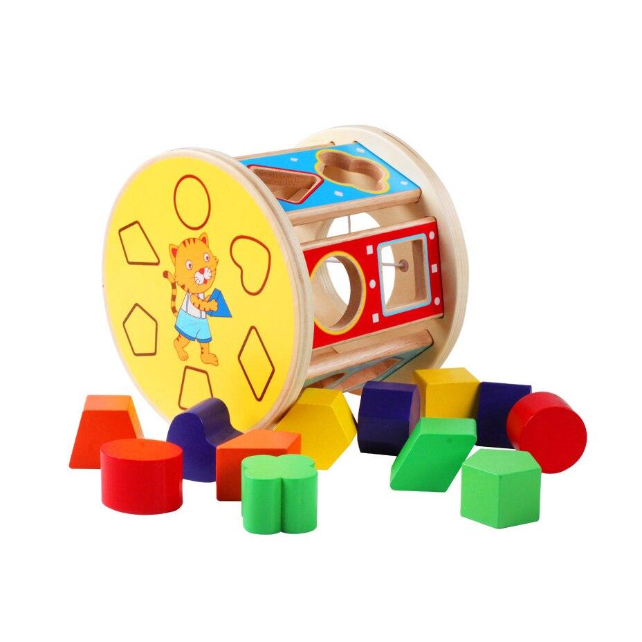 Chanycore bébé apprentissage jouets éducatifs en bois forme géométrique blocs boîte tri correspondant qzm Montessori enfants cadeaux 4098
