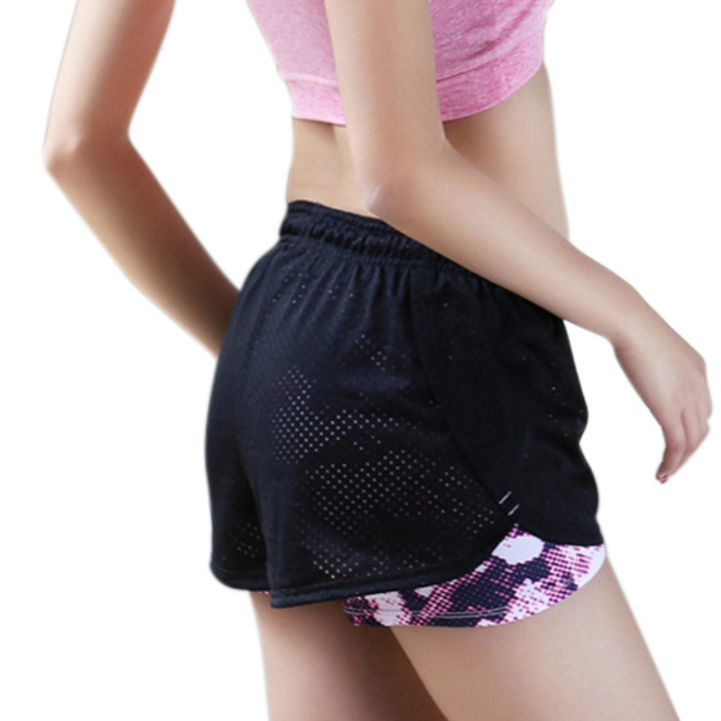 Women Cotton Mesh Shorts Work-out Two Layer Fitness Fold Short Cool Wear Drawstring Clothing