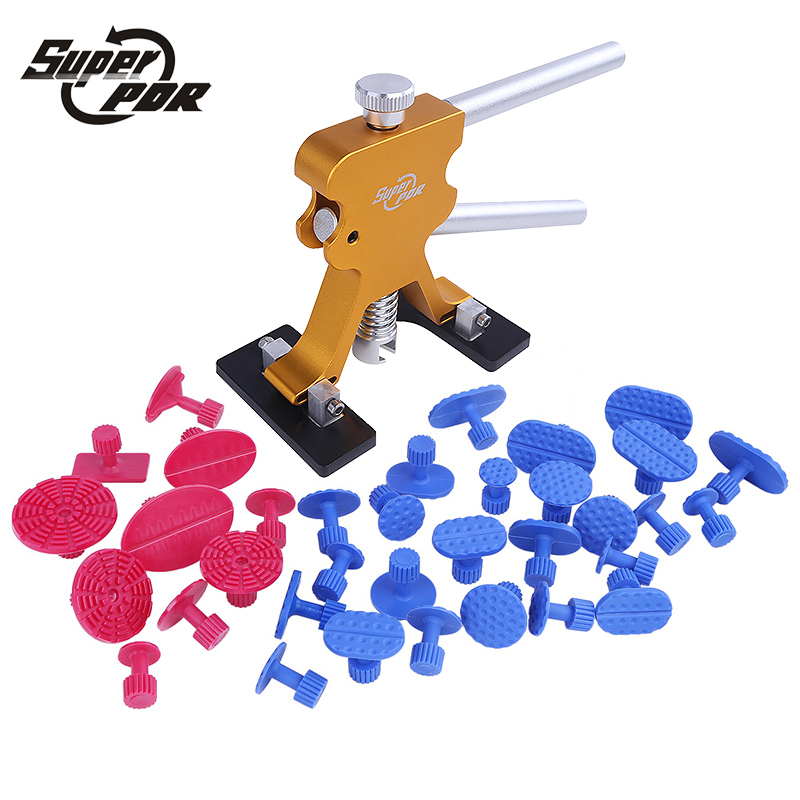 Super PDR Gold Color Dent Puller 10 pc Red Color Glue Tabs 25pc Blue Color Glue Tabs Dent Removal Tools