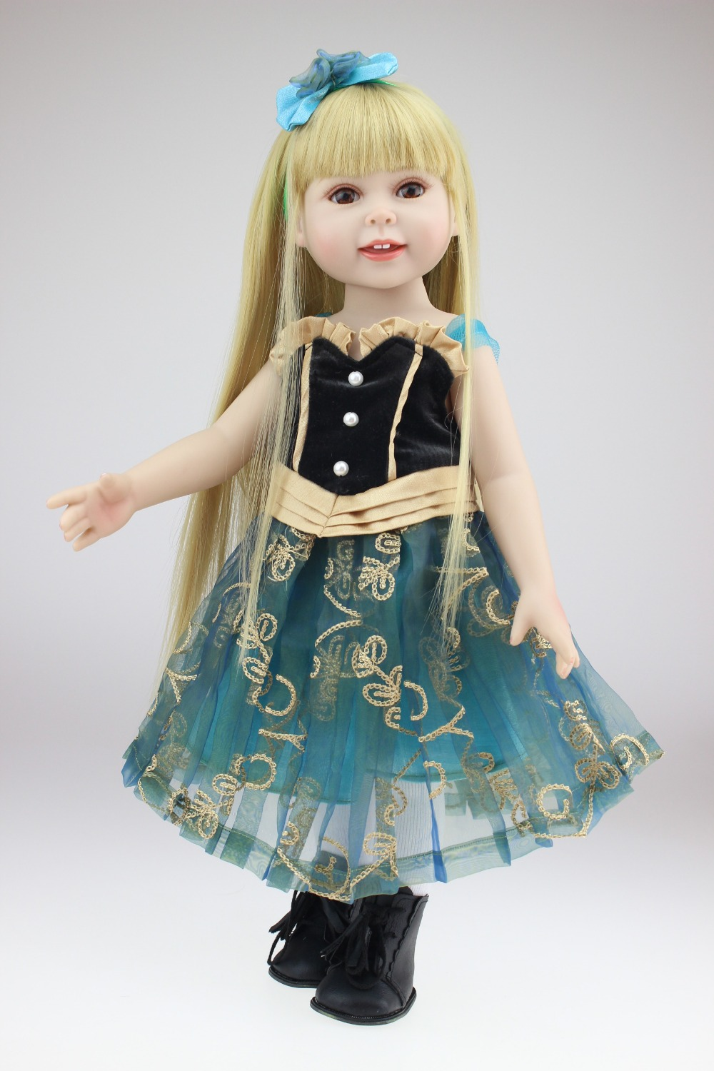 ФОТО 2017 Hot Sale 18inch Reborn Lovely American Girl Doll With Brown Long Straight Hair Realistic Baby Bonecas Bebe Toys Brinquedos