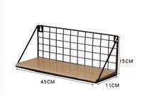 Storage artifact free punch wrought iron wandregal bedroom wall grid shelf zakka home decor
