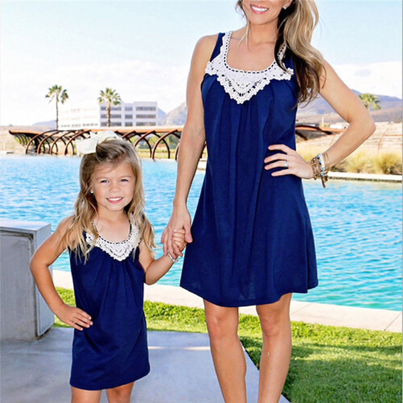 2018 Family Matching Outfits mother daughter dresses Knee-Length dress mommy and me clothes Sleeveless Summer Style