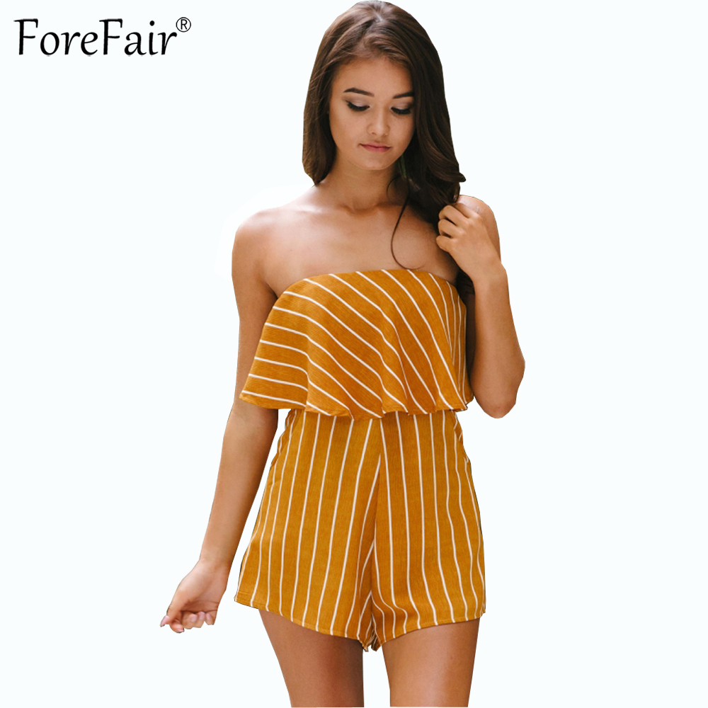 ForeFair New Yellow Striped Strapless Sexy Bodysuit Summer Plus Size Ruffles Beach Casual Jumpsuit Women