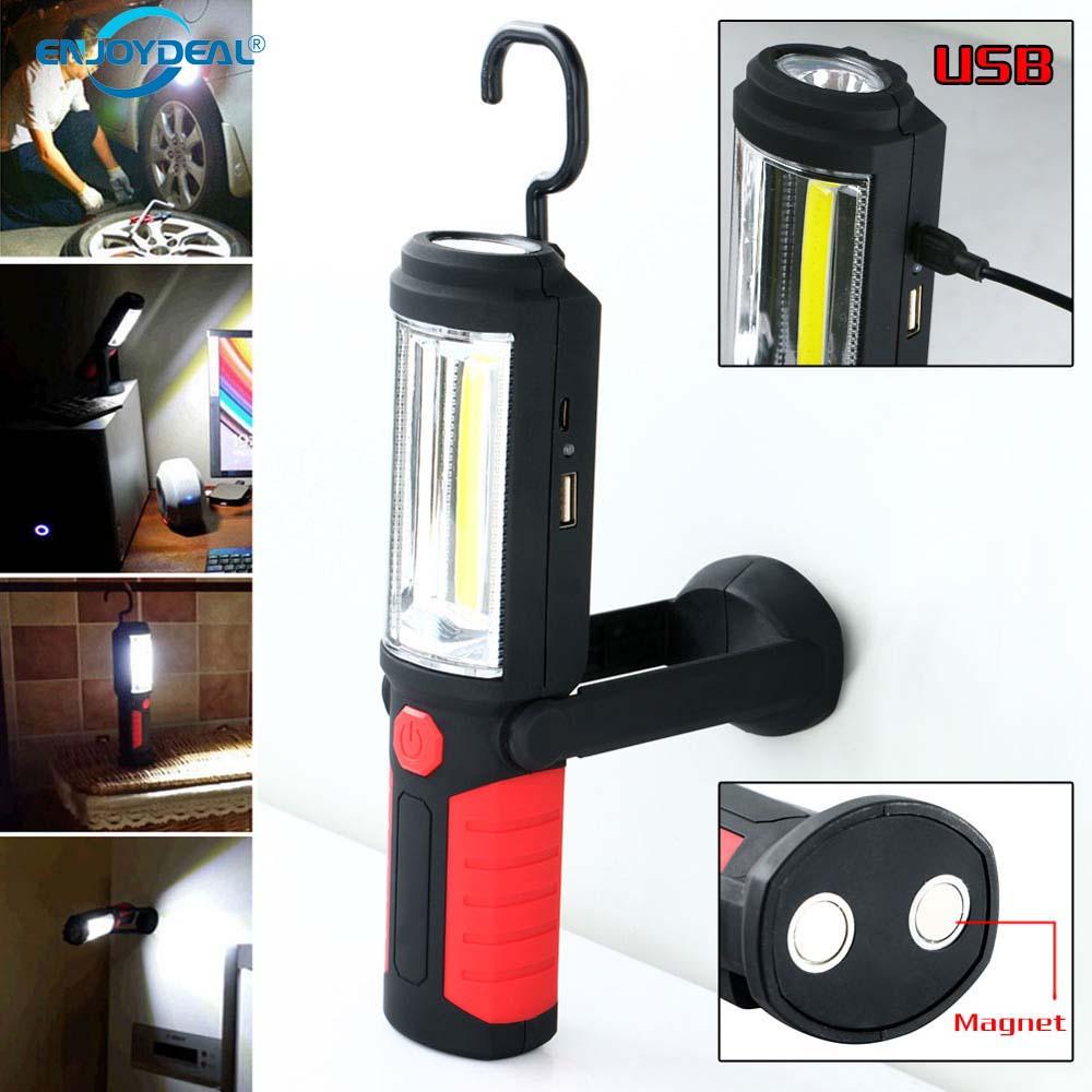 Portable Led Flashlight Garage Lights Emergency Work Light: Portable Magnetic COB LED Work Light Hand Lamp USB