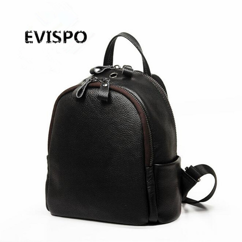 EVISPO Backpack Women Genuine Leather Bag Women Bag Cow Leather Women Backpack Mochila Feminina School Bags for Teenagers miwind new backpack women school bags for teenagers mochila feminina women bag free shipping leather bags women leather backpack
