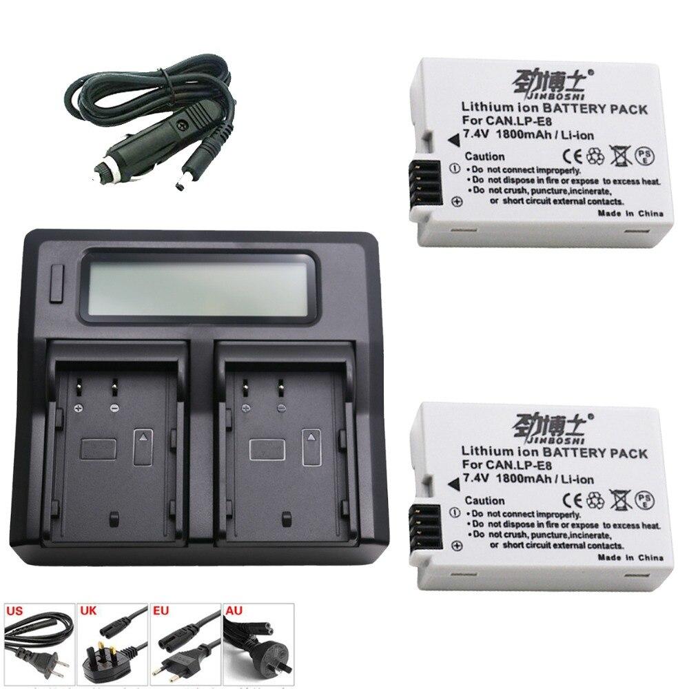 2 pièces 1800 mah LP-E8 LPE8 LP E8 Lithium Ion Batterie + LCD Double Chargeur pour appareil photo Canon EOS 550D 600D 650D 700D X4 X5 X6i X7i T2i T3i