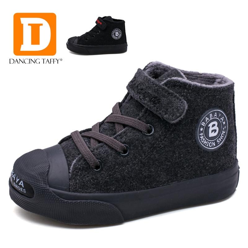 Brand Autumn Children Boots Short Plush Warm Shoes Flock Boys Girls Boots New 2017 Winter Black Gray Rubber Sole Kids Sneakers