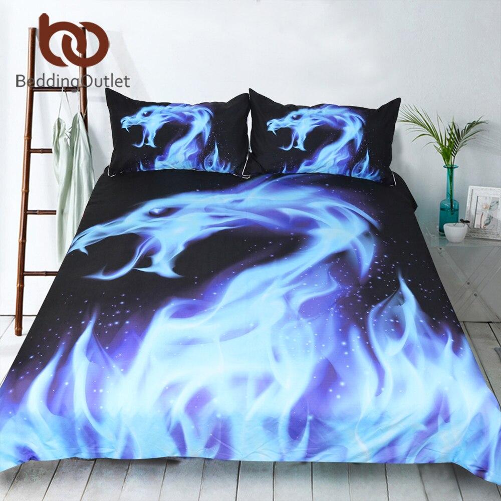 Großartig Bettwäsche Cool Referenz Von Beddingoutlet Blue Fire Bettwäsche Set Coole Drache