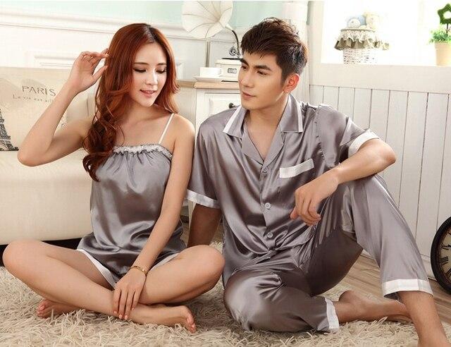 Nuevo estilo de los Pares pareja batas de dos piezas traje de seda ropa de Dormir de Seda sexy ropa de dormir