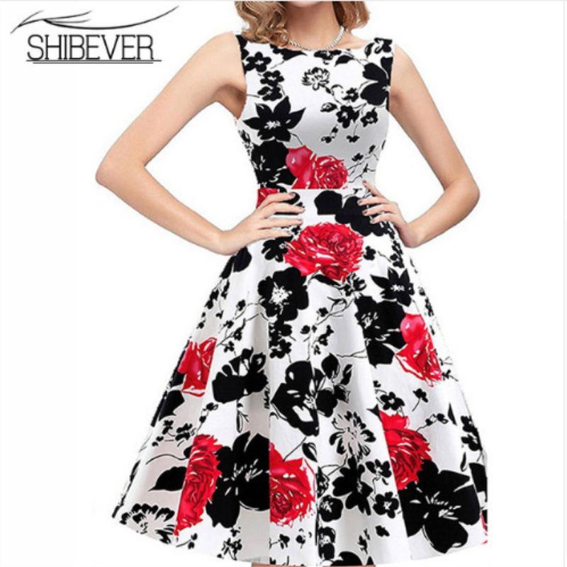 9e10a54547c SHIBEVER Elegante Sommer Frauen Kleider Ballkleid Party Kleid Ärmellose  Druck Casual Klassische Kleid Oansatz Mode Dame Kleid LD07 in SHIBEVER  Elegante ...