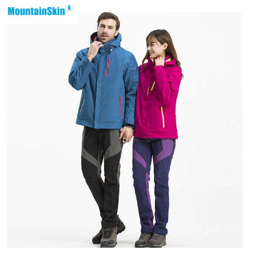 Mountainskin Men Women's Hiking Softshell Fleece 2 PCS Jackets Outdoor Windbreaker Climbing Camping Trekking Hooded Coat MA338