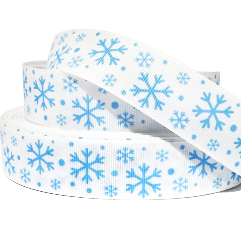 22 мм 7/8 дюймов синий Снежинка Grosgrain белая лента ручной работы собака воротники повязка аксессуар тесьма Cintas Ruban 50 ярдов/партия