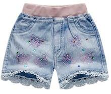 Шорты детские джинсовые с эластичным поясом модные ковбойские