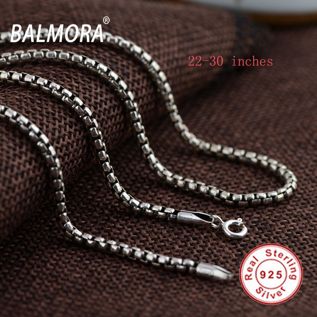 BALMORA Retro 100% Pure Real 925 Sterling Silver Chains Necklaces for Women Men Fine Jewelry Wholesale Accessories Bijoux CK0057