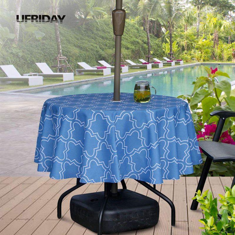 UFRIDAY Round Umbrella Table Cloth with Zipper Geometric ...