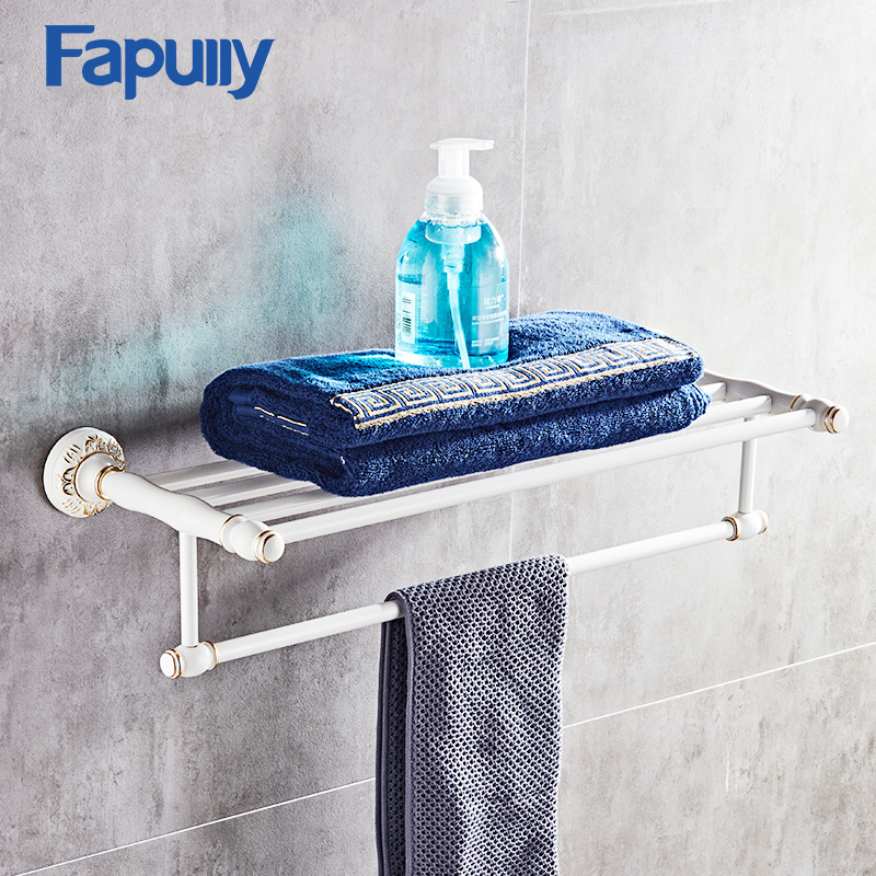 Fapully White Bathroom Towel Rack High Quality Aluminum Wall Mounted Shower Rack Double Towel Rack Bathroom Shelves G128-01W fashion high quality wall mounted brass material gold finished bathroom accessories hotel towel rack towel shelves