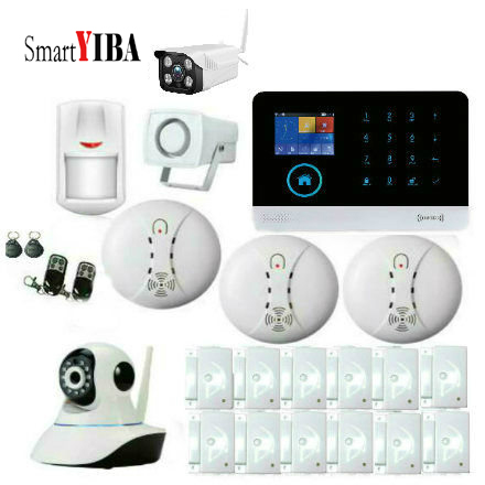 цена на SmartYIBA Wireless WIFI GSM SMS Smart Home Alarm System Wifi Indoor LCD Display IP Camera Wireless SMOKE DETECTOR CAMERA Alarm