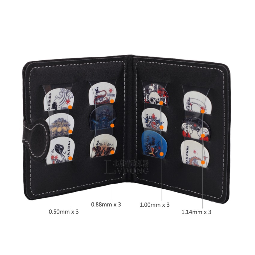 Music-S send random Guitar Picks Wallet Bag Holder Pack Including 12 Rock Picks Wholesale - Black