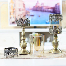Pillar Candle Holder Vintage Retro Wedding Decoration Iron Candle Stand Candlestick Table Candelabra Bougeoir Home Decor 50A0026(China)