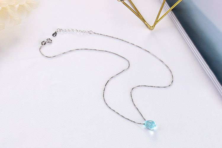 Anenjery Literary Artificial Blue Crystal Water Drop Necklace 925 Sterling Silver Clavicle Chain Necklace For Women Girl S-N292 14