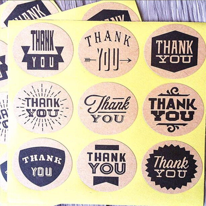 Square Paper Labels /'Thank You/'  Red Heart Gift Food Craft Stickers Zakka Kawaii