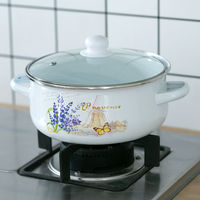 Old fashioned 22CM Thick Enamel Milk Pot Cooker Stove Gas Universal Double Ear Medicine Pot Hot Pot Steamer Cooking Pots Set