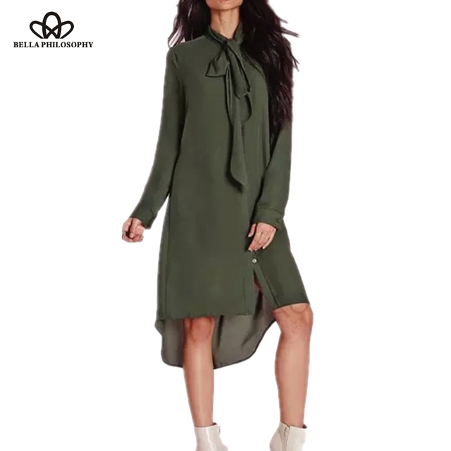 927c4d3bfa92 Spring Summer new women long shirt dress short front long back bow ribbon  armygreen casual loose chiffon