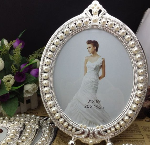jeweled photo frames pearl frame 8x10 high quality metal photo frame wedding favors and gifts wholesale