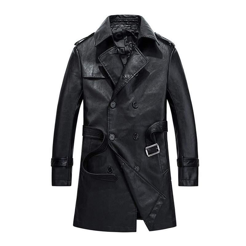 new men's leather coat high quality washed faux leather