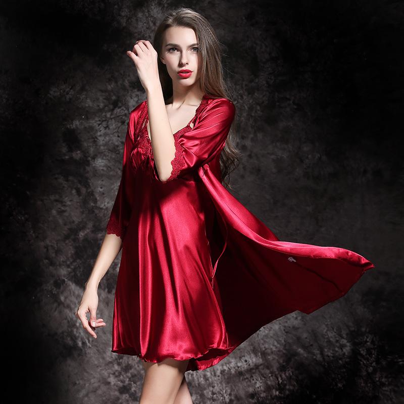 a96dbcb2b7f 2017 New Victoria Pajamas VS Pink Silk Nightdress Women Long Sleeve ...