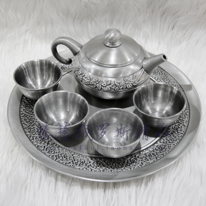 Silver tin wine exquisite and fine packaging Russian tea set the teapot + four bowl + tin tray