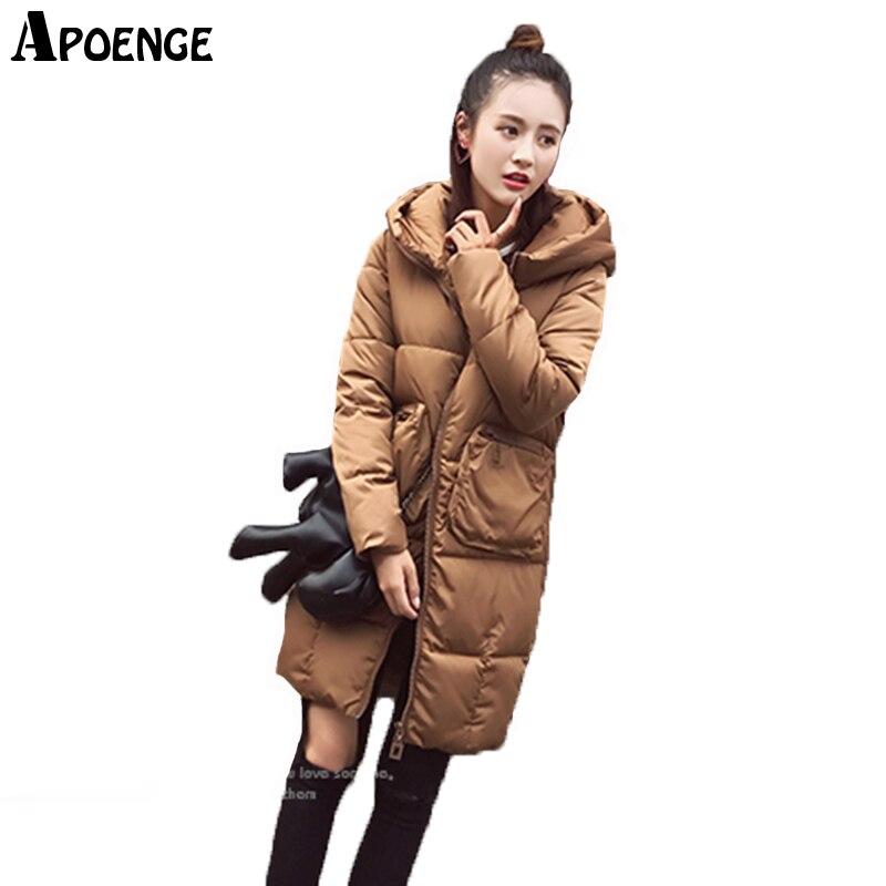 APOENGE  Women Winter Coats and Jacket Parka Feminina 2017 Korean Long Thick Hooded Overcoat Padded Wadded casaco inverno QN616
