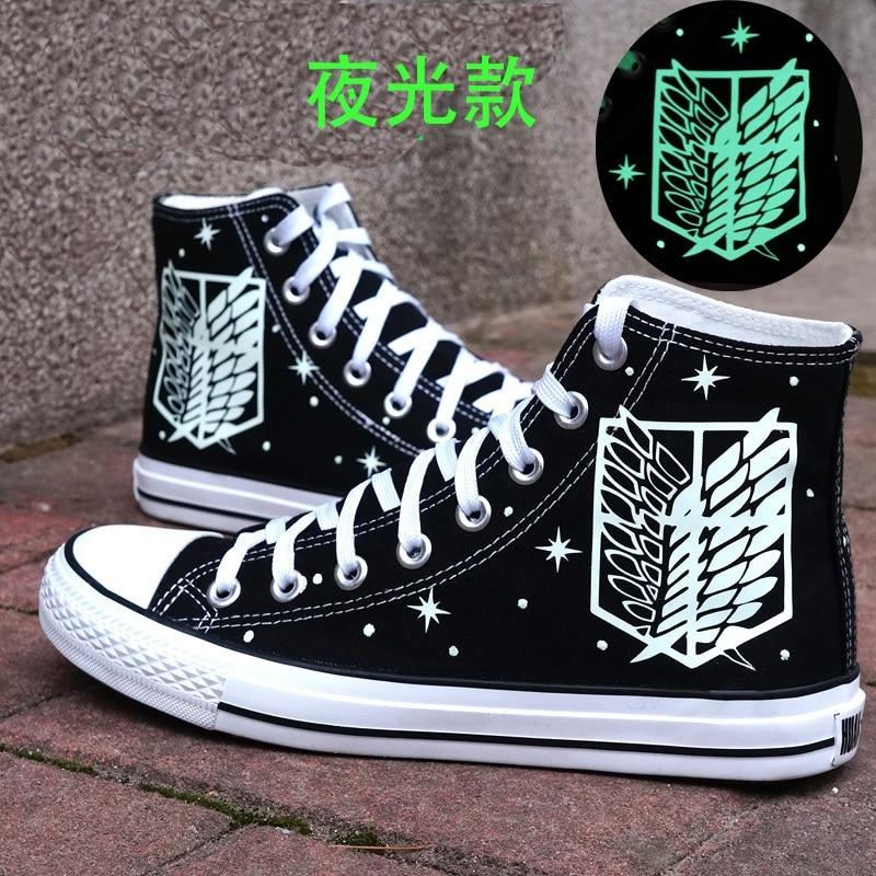 High-Q Unisex Anime Attack On Titan Jiyuu No Tsubasa Noctilucan Casual Canvas Shoes Plimsolls