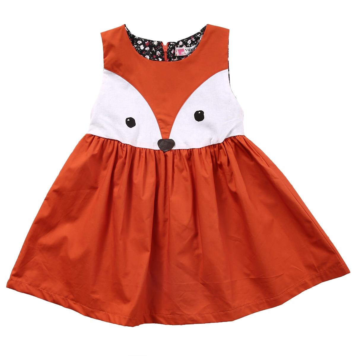 Hot 1-5Y Casual Baby Girls Toddler Kids Cute Fox Dress Sleeveless Formal Party Wedding Tutu Dresses