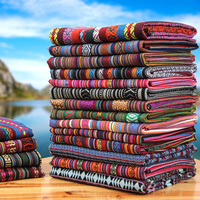 Chinese Vintage Multi Color Stripe Tribal Ethnic Cotton Fabric For Upholstery Curtain Table Cloth By Meter