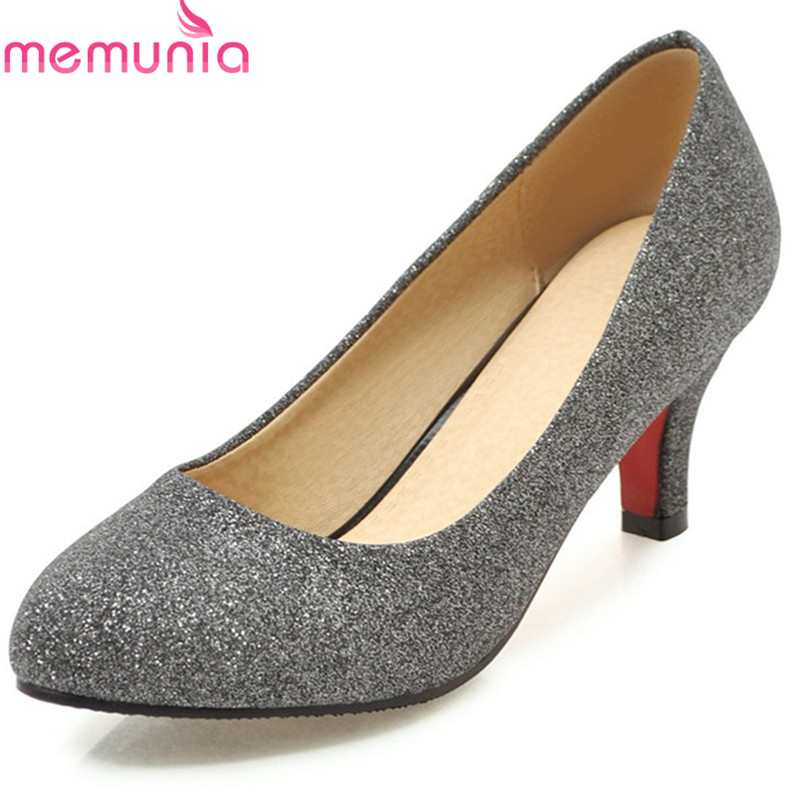 MEMUNIA 2018 new arrive women pumps summer sweet pointed toe shallow wedding shoes fashion sequins comfortable high heels shoes