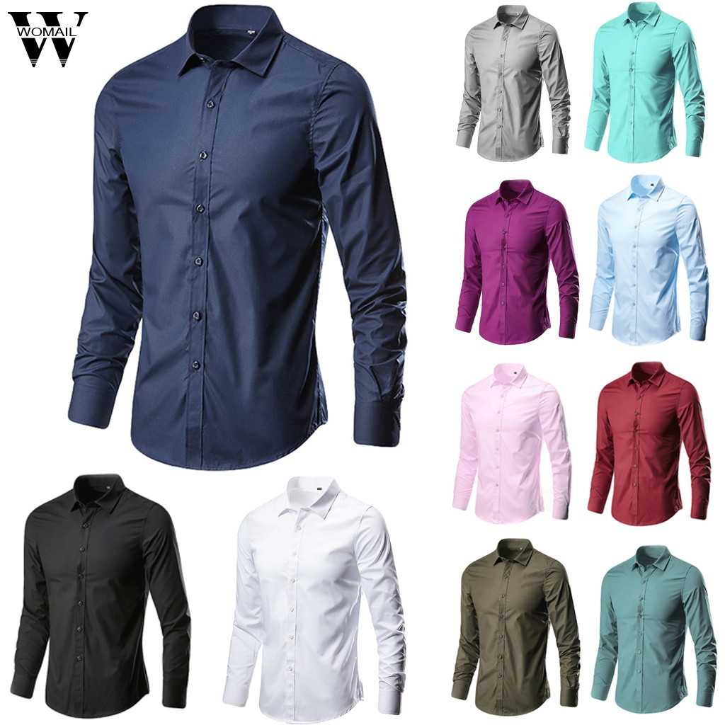 Womail Shirt Mannen Zomer Fashion Business Shirts Rooster Solid Button Lange Mouwen Daily Gift Casual Hoge Kwaliteit Nieuwe 2019 a17