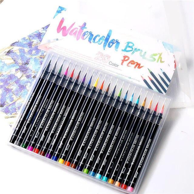 20 Color Premium Painting Soft Brush Pen Set Watercolor Markers Pen ...