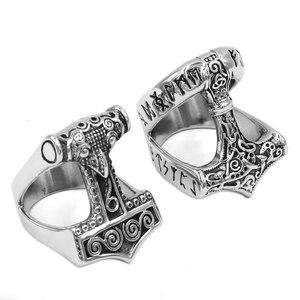 Кольцо из нержавеющей стали Norse Viking Myth Thor Hammer, кольцо с кельтским узлом, кольцо с животным амулетом, байкерское мужское кольцо, оптовая прода...