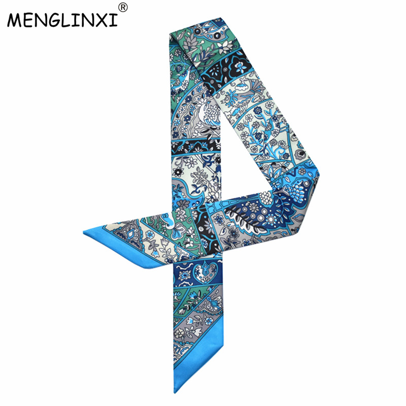 New Design Luxury Brand Silk Ribbon Small Floral Print Women Silk Scarf  Handle Bag Ribbons Female Headband Long Scarves & Wraps