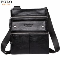 VICUNA POLO Leather Messenger Bag With Front Pocket Famous Brand Business Man Bag Men Handbag Vintage