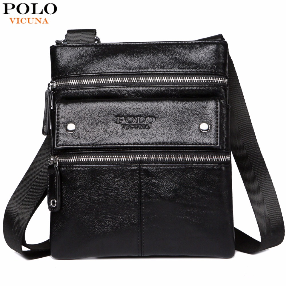 VICUNA POLO Leather Messenger Bag With Front Pocket Famous Brand Business Man Bag Men Handbag Vintage High Quality Shoulder Bags