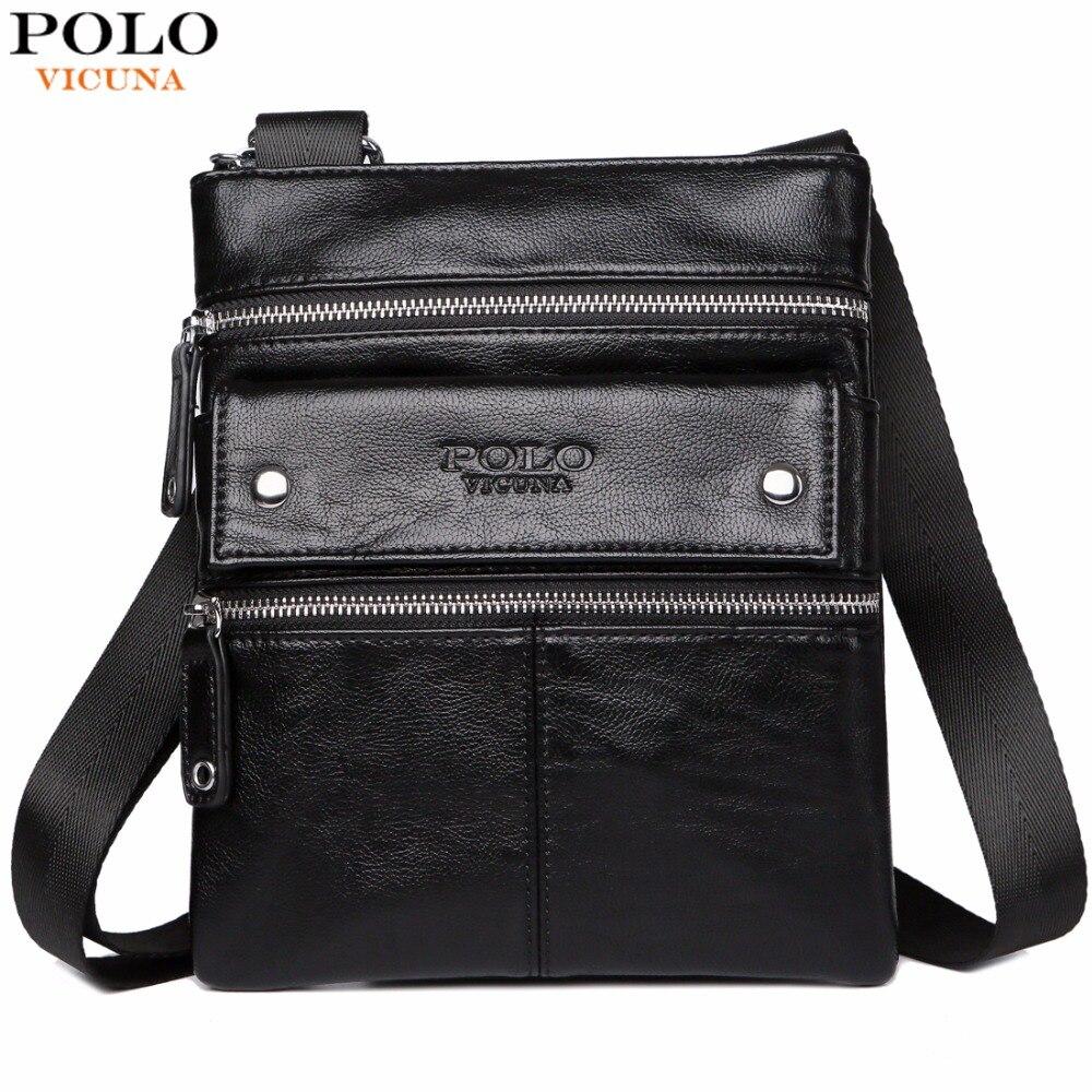 VICUNA POLO Leather Messenger Bag With Front Pocket Famous Brand Business Man Bag Men Handbag Vintage High Quality Shoulder Bags